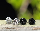 Glitter Studs, Faux Druzy Earrings Set of 2, Titanium or Stainess Steel Posts, 8mm Black and Silver
