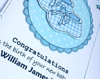 Baby Boy Card - Congratulations New Baby - Personalised - Blue Bootees - Handcrafted Card