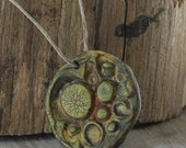 Focal Pendant, Polymer Clay Circle Textured Imprinted Bead, Painted & Crackle Finish, Jewelry Design Supplies
