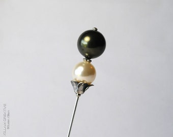 Swarovski Pearl Stick Pin, Green and Cream, 3 Inch Pin, Hat Pin, Scarf Pin, Hijab Pin, Lapel Pin, Wedding, Boutonniere, Corsage, H0235