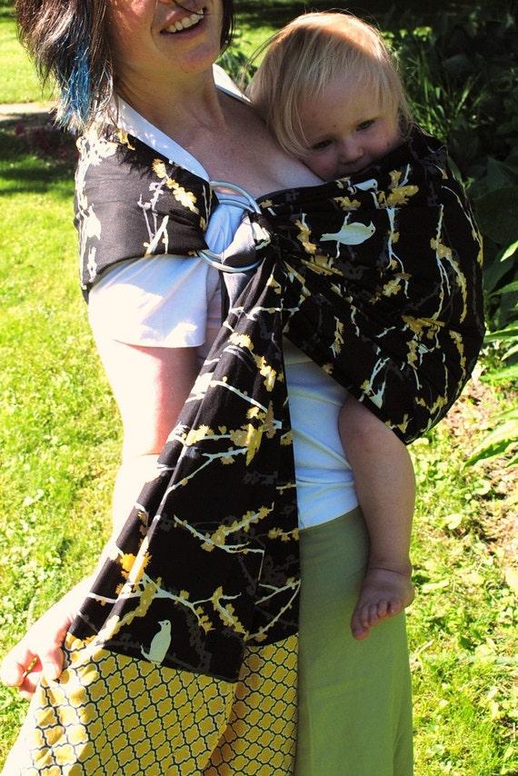 Sparrows in Black- Adjustable Baby Sling