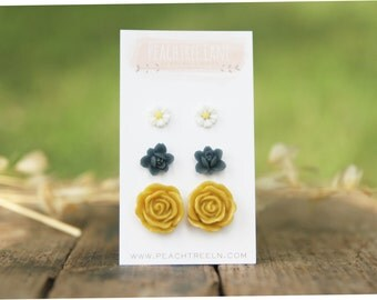 Mustard Yellow Rose Flower Earrings << Navy Blue Small Studs >> Daisy Small Post Earrings << Bridesmaid Gifts >> Rustic Wedding Gifts