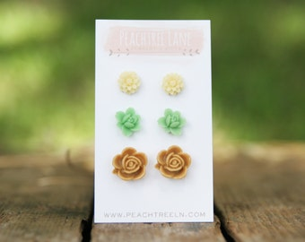 Tan Neutral Flower Earrings << Cream Ivory Small Daisy Earrings >> Mint Green Lily Post Earrings << Summer Earrings >> Costume Jewelry