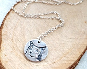 Small House Cat metal clay fine silver pendant sterling silver necklace, cat lover, memorial , teenage daughter, silver cat, bridal