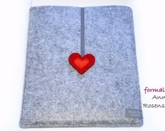 red heart gray case felt for iPad Kindle E-Reader
