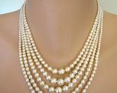 5 STRAND Pearl Necklace, Cream Pearls, Bridal Pearls, Deco, Great Gatsby, Wedding Jewelry, Pearl and Rhinestone, Vintage Bridal, Downton