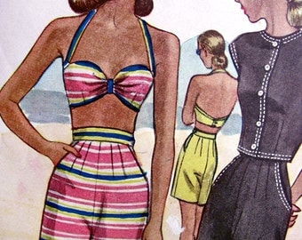 Playsuit  Pattern * UNCUT 1940s  McCall  Pattern 6448  -  FABULOUS  3 Piece Beachwear Sports Wardrobe :   // Size 12 *  Bust 30