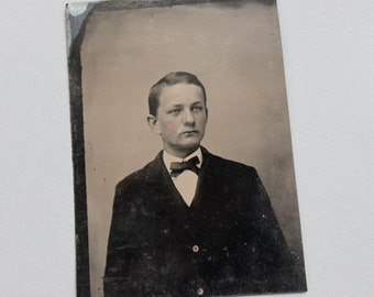 Antique Tintype Portrait of a Handsome Young Man