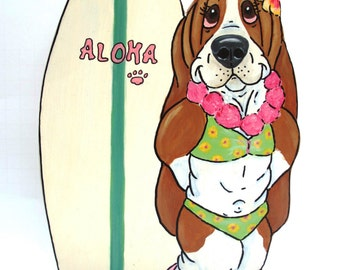 """Made to Order Hand Painted Basset Hound Table Top Art - Surfer Babe """"Annette"""""""