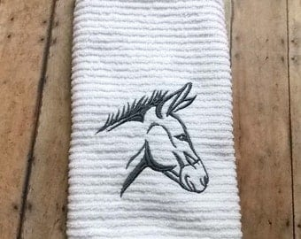 Embroidered Kitchen Towel, Gray Donkey