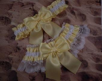Pale Yellow Satin White Lace Wedding Bridal Garter Toss Set
