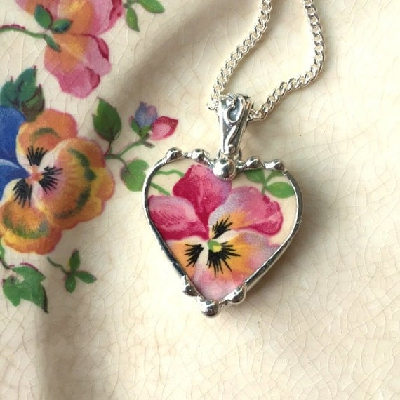 Pink pansy broken china jewelry heart pendant necklace made from a broken antique china plate