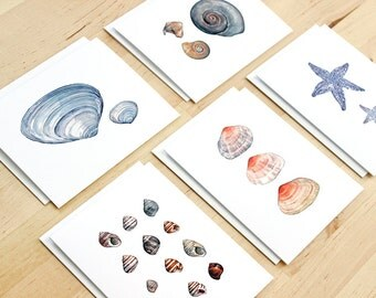 Shells Beach Watercolor Notecard Set - 10 cards, Starfish & Seashells Stationery Set