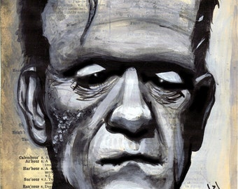 Dictionary Painting FRANKENSTEIN Print by Undead Ed