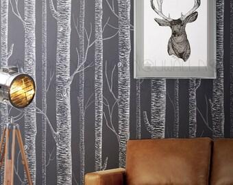 White Birch Tree On Dark Grey Background Peel & Stick Wallpaper - wall decal - wall sticker
