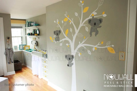 b b stickers muraux animal d 39 ours de koala d cor arbre. Black Bedroom Furniture Sets. Home Design Ideas