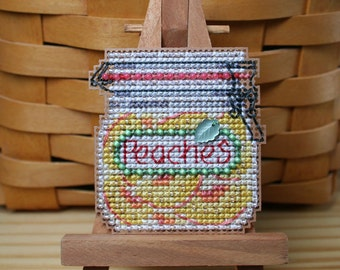 Peaches Cross Stitched and Beaded Ornament, Magnet, or Pin - Free U.S. Shipping