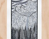 Linocut Print, Yosemite Poster, Bridalveil Fall, National Park Art