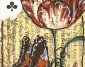 Altered Playing Card/ACEO Butterfly Series Ace of Clubs