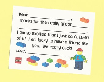 Lego Fill in the Blanks Thank You Notes - Great for Boys Birthday Thanks