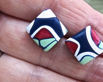 Earrings in Summer Colors, Polymer Clay Square Earrings, Post, Stud Earrings in Blue,Green, Red and White, Gift for Her