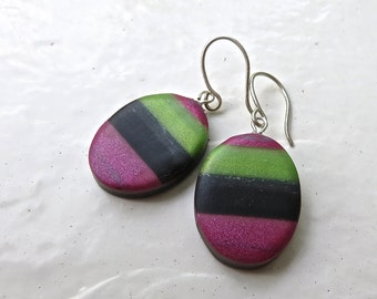 Earrings in Polymer Clay, Pink Green and Black Earrings, Oval earrings in clay, Gift for her, gift under 20