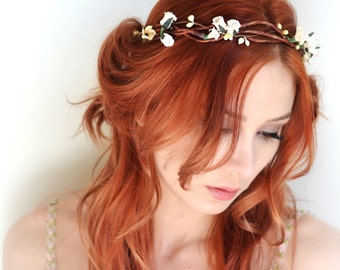 Ivory floral crown, hair wreath, flower head piece, bridal crown, medieval headpiece, wedding circlet, hair accessories - Sherwood
