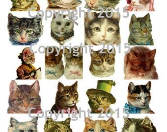 Victorian Cat Images Collage Sheet 102, Digital Scrapbooking, Prints, Instant Digital Download