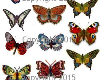 Printable Vintage Butterfly Collage Sheet  Instant Digital Download,  for Decoupae, Altered Art, Scrapbook Embellishments