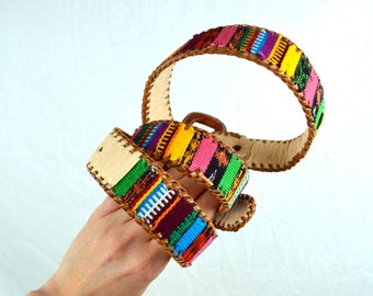 Vintage Leather Rainbow Woven Fabric Belt -  Size 38