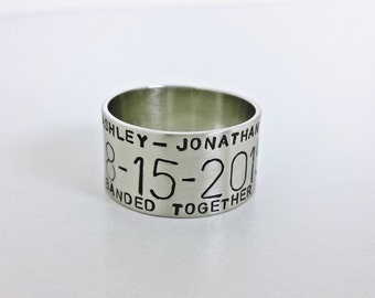 Personalized Duck Band Ring - Hand Stamped 14k White Gold Bird Band Ring - Gold Wedding Band - White Gold Duck Band