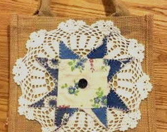 BURLAP Tote with Navy Antique Ohio Star Quilt Piece placed on newer Lace Doily Vintage Button OFG RDT
