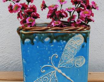 Vase, Dragonfly, Blue, Handmade, Ceramic, Pottery, Unique, Home Decor, Home Living, Vases, Big Dog Pots Pottery bigdogpots