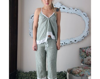 linen pajama camisole - CHARM - made to order