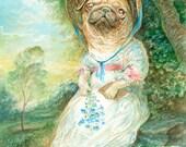 Jane Pugsten (print) Jane Austen pug dog humor