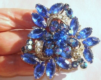 Vintage Blue Rhinestone Jewelry Brooch  Silver Tone