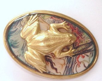Frog  Animal Brooch Gold Tone