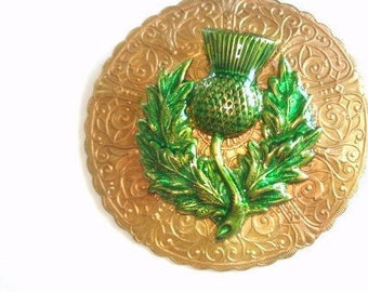 Thistle Flower Brooch Green Gold Tone