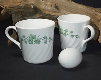 Corning Corelle Callaway Cups / Set of 2 Vintage Corning USA Coffee Cups Ivy Leaves / Vintage Corning Callaway Flat Cups or Mugs