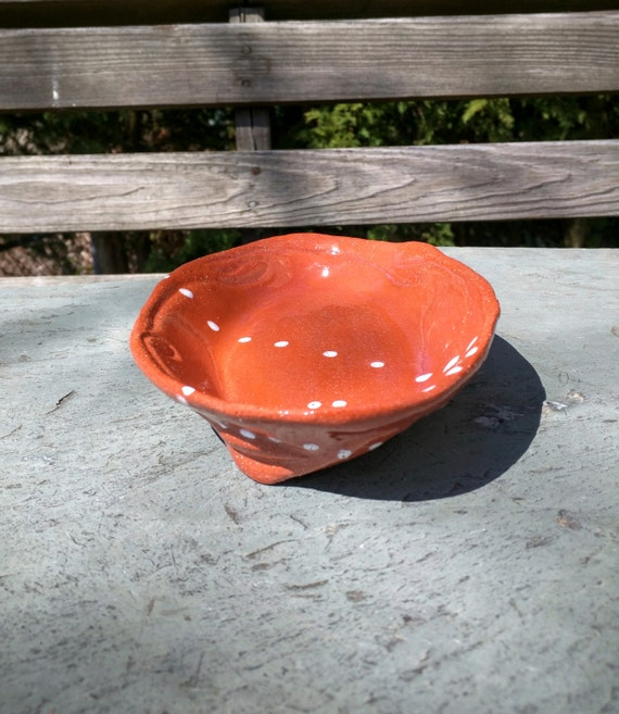 Terracotta Snack or Dessert Plate, Hand Carved, Brick Red, Spirals, White Dots, Tripod Feet, One of a Kind (sp7)