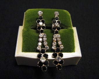 Vintage Silver Tone and Pave Black Diamond Rhinestone Teardrop Dangle Pierced Earrings