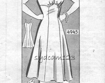 Vintage 1940s Whole Full Slip Pattern Princess Seams Floral Embroidery Anne Adams 4945 Bust 36