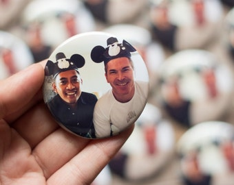 2.25 Inch, Custom Photo Button, Large Pin, Party Favor, Customized Badge, Choose a Side, Baby Shower, Vintage Photo Memorial, Birthday Party