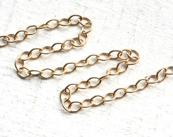 3 Feet Gold Chain // 23K Gold Vermeil Oval Link Chain M/FZA050 // 3x4mm