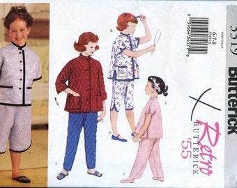 Butterick 3319 Retro Girls pajamas Pattern - Size 6-8 UNCUT