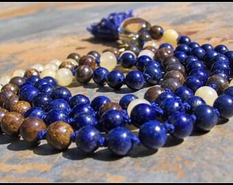 Lapis Lazuli Mala, Yellow Agate Mala, Bronzite Mala, Lemon Quartz Mala, Prayer Beads, Japa Mala