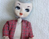 Big Eyed Bradley style Doll. Made in Japan.   Mod Big eye bendable doll.  Vintage 1960, Barbie Era.  With tag.