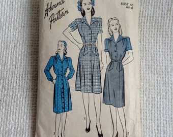 "Advance Woman's Dress Pattern 3953.  Vintage 1940 sewing pattern.    Bust size 40"", Hip size 43"".  No. 3953."