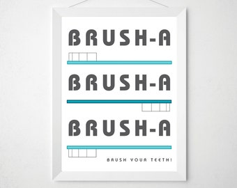 Kids Bathroom Brush Your Teeth Sign - Childrens Bathroom Decor - Modern Kids Wall Art - Custom Colors Toothbrush