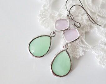 Mint Pink Earrings, Teardrop Earrings, Bridesmaid Earrings, Seafoam Blush Pink Earrings Silver, Pastel Earrings, Bridal Wedding Jewelry